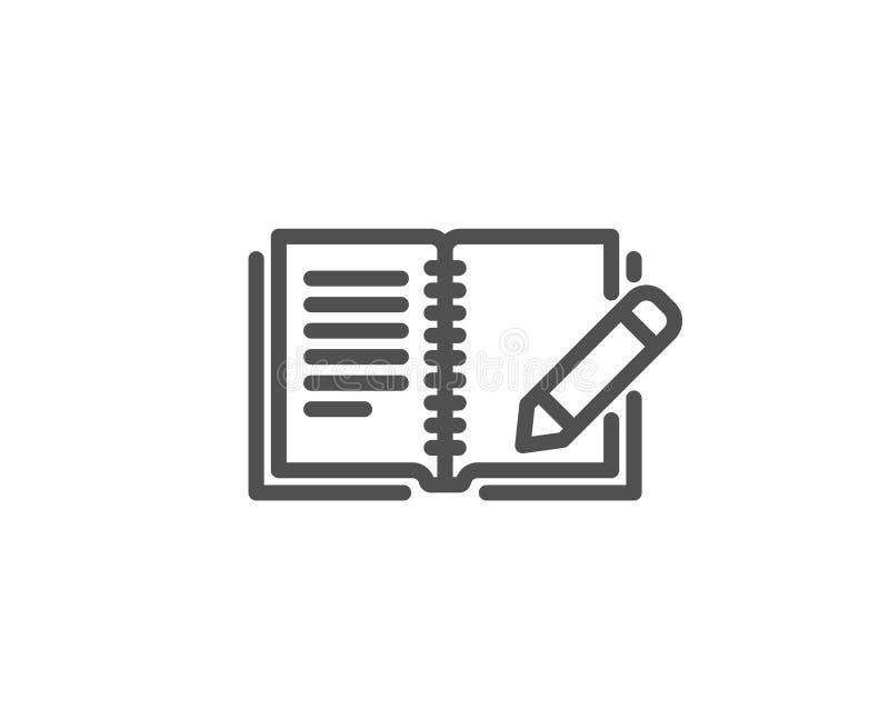 Linha ícone do feedback Livro com sinal do lápis ilustração stock