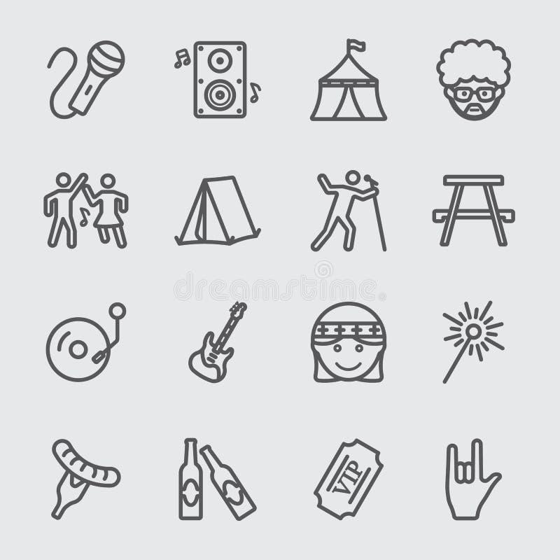 Linha ícone do festival ilustração stock