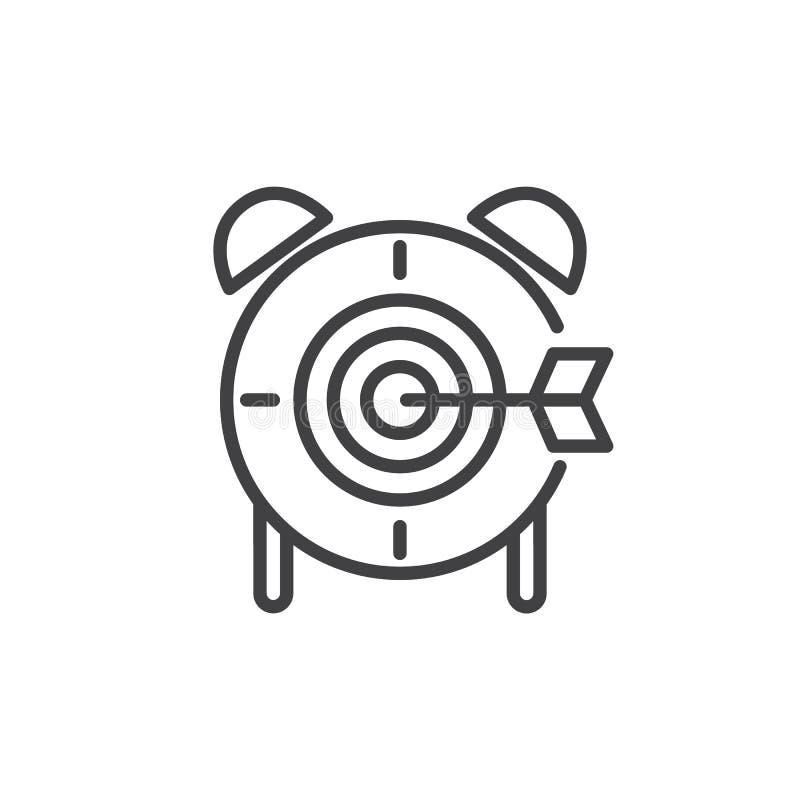 Linha ícone do fim do prazo, sinal do vetor do esboço, pictograma linear do estilo isolado no branco ilustração stock