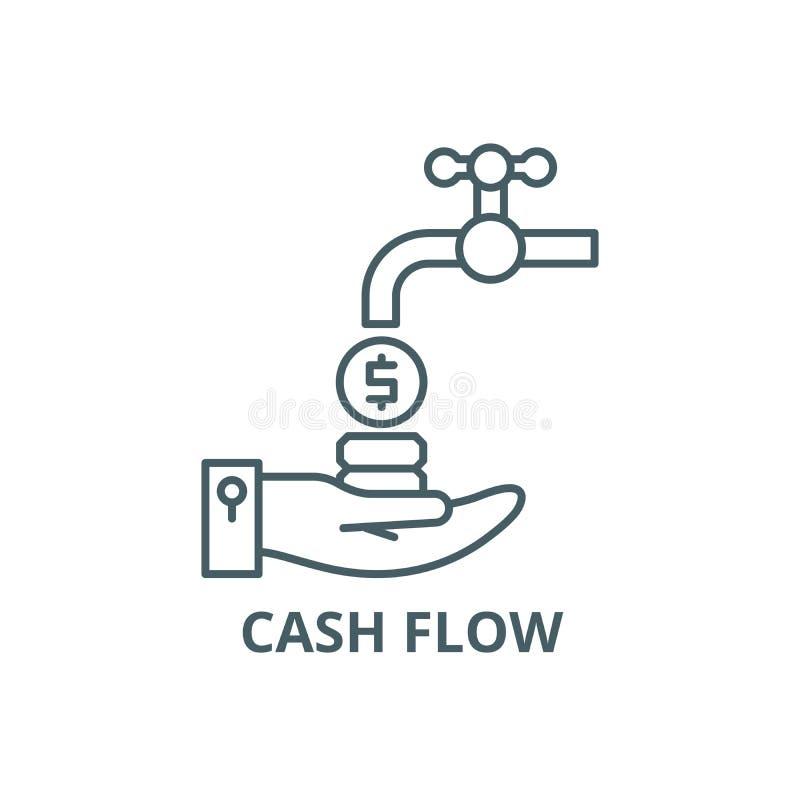 Linha ícone do fluxo de caixa, vetor Sinal do esboço do fluxo de caixa, símbolo do conceito, ilustração lisa ilustração royalty free