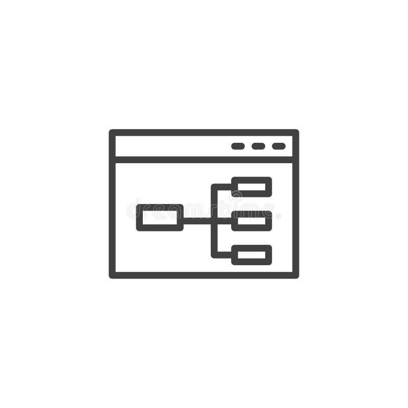 Linha ícone do fluxograma do Web site ilustração do vetor