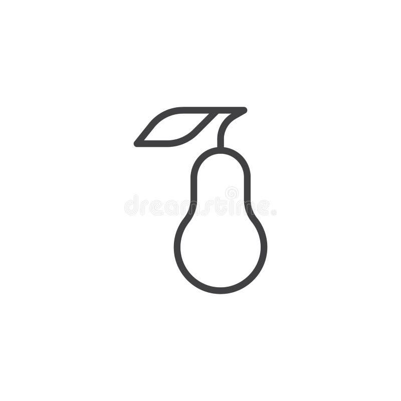 Linha ícone do fruto da pera ilustração stock