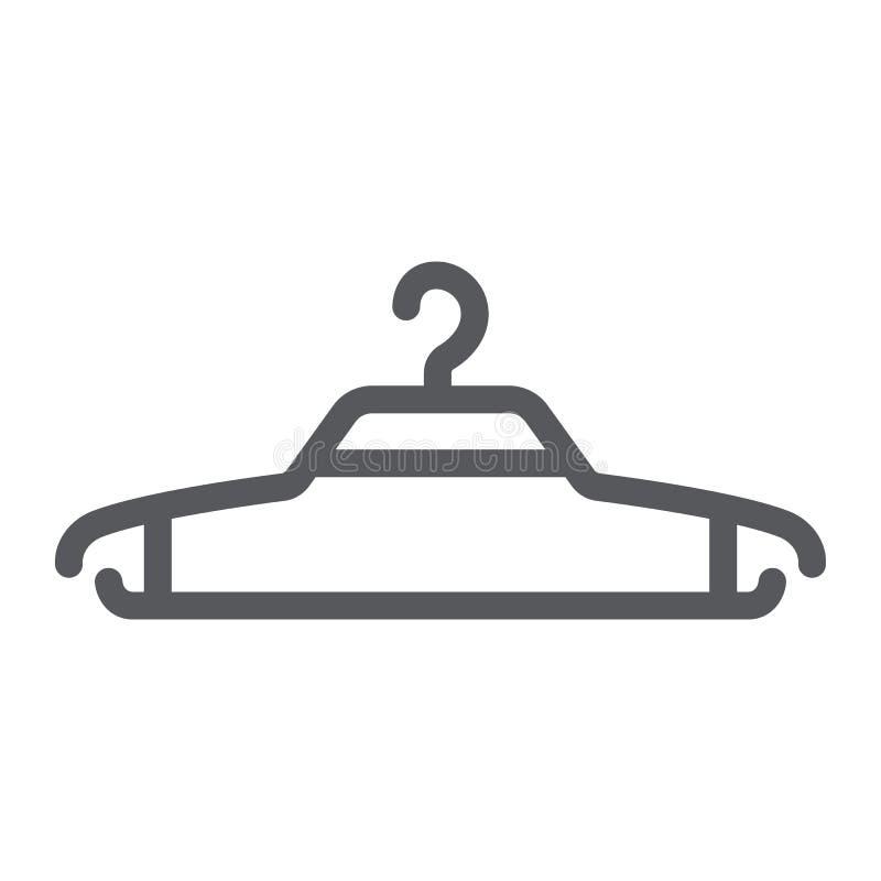 Linha ícone do gancho, roupa e vestuário, sinal do gancho de roupa, gráficos de vetor, um teste padrão linear em um fundo branco ilustração stock