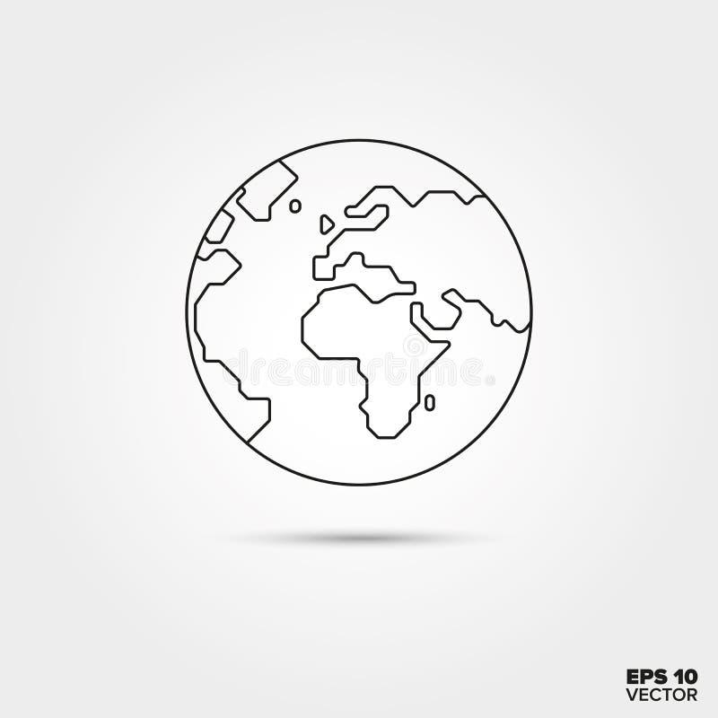 Linha ícone do globo ilustração do vetor
