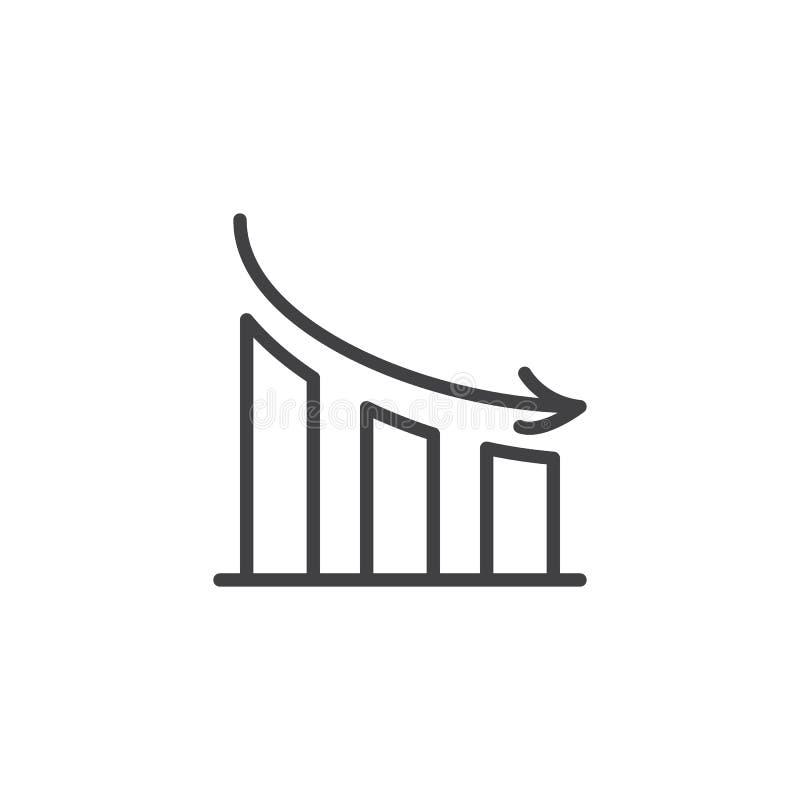 Linha ícone do gráfico da diminuição ilustração royalty free