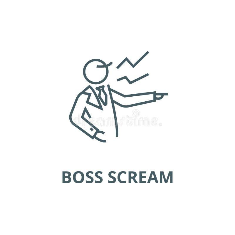 Linha ícone do grito do chefe, vetor Sinal do esboço do grito do chefe, símbolo do conceito, ilustração lisa ilustração do vetor