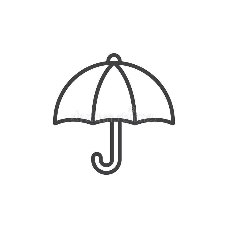 Linha ícone do guarda-chuva, sinal do vetor do esboço, pictograma linear do estilo isolado no branco ilustração royalty free
