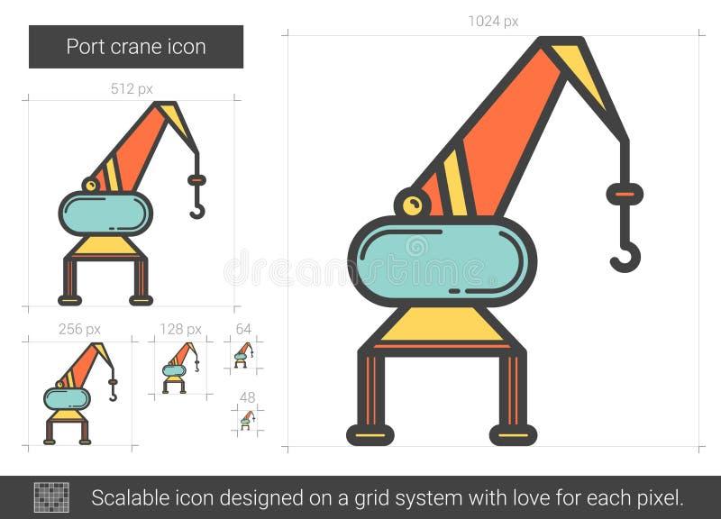Linha ícone do guindaste do porto ilustração stock