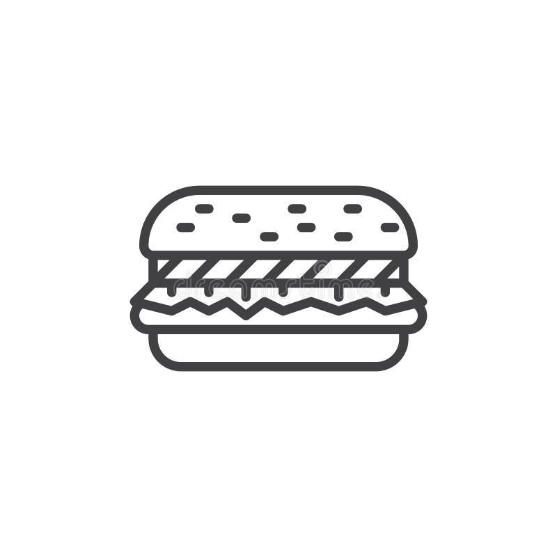 Linha ícone do Hamburger ilustração stock