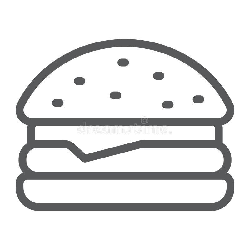 Linha ícone do Hamburger, alimento e padaria, sinal do fast food, gráficos de vetor, um teste padrão linear em um fundo branco ilustração do vetor