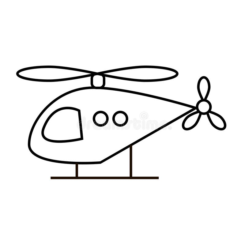 Linha ícone do helicóptero ilustração royalty free