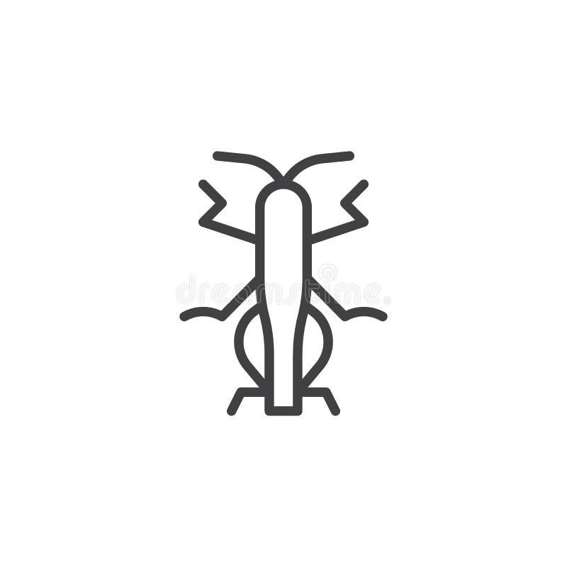 Linha ícone do inseto do gafanhoto ilustração royalty free
