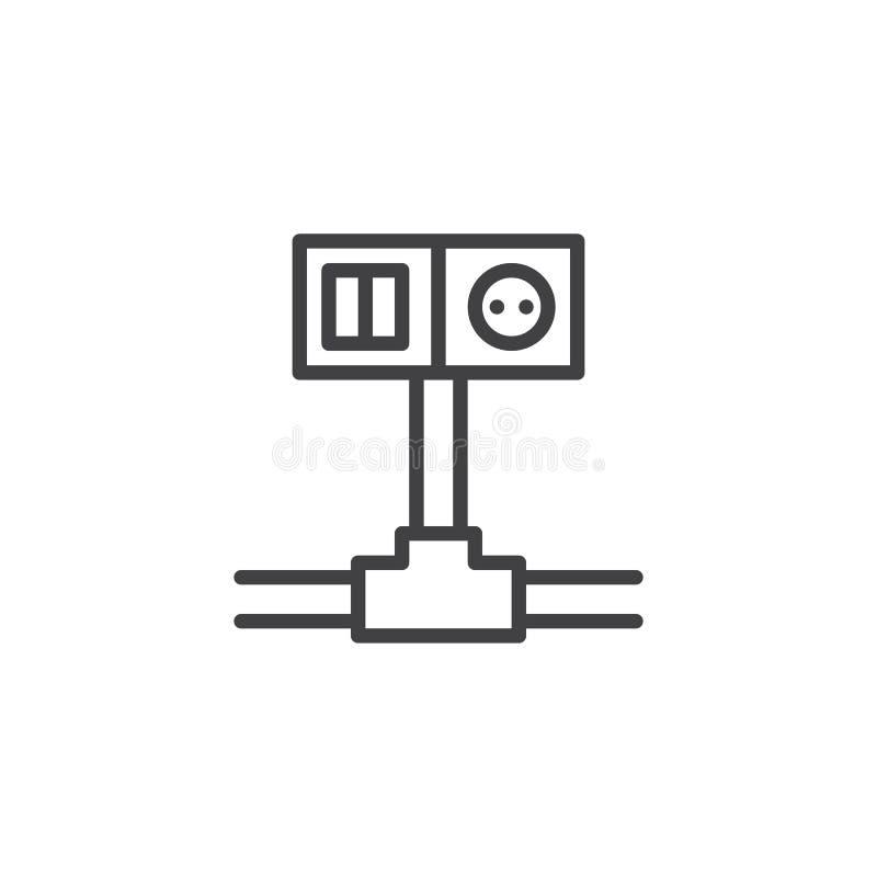 Linha ícone do interruptor e do soquete de fiação ilustração do vetor