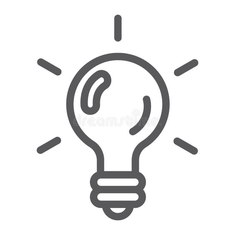 Linha ícone do jogo da lógica, jogo e jogo, sinal da ampola, gráficos de vetor, um teste padrão linear em um fundo branco ilustração royalty free