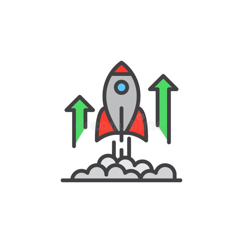 Linha ícone do lançamento de Rocket, sinal enchido do vetor do esboço, pictograma colorido linear isolado no branco ilustração royalty free
