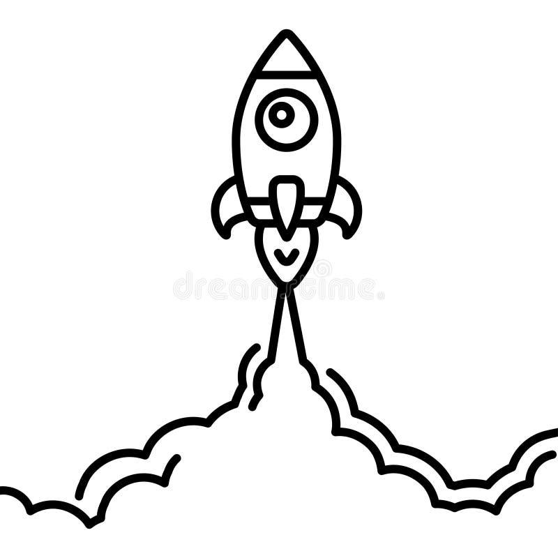 Linha ícone do lançamento do foguete de Minimalistic Ilustração de Rocket com fogo das nuvens, do espaço e do lançamento, linha a ilustração royalty free