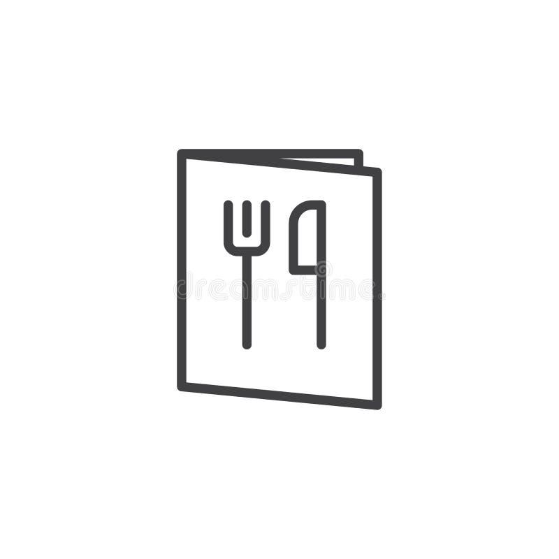 Linha ícone do livro do menu do restaurante ilustração stock