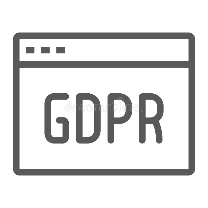 Linha ícone do local de Gdpr, Web page e Web site, sinal do navegador, gráficos de vetor, um teste padrão linear em um fundo b ilustração royalty free