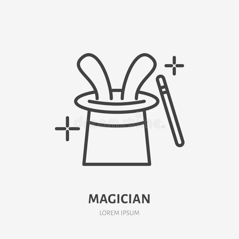 Linha ícone do mágico Vector o logotipo para o ilusionista, o serviço do partido ou a agência do evento Ilustração linear da vari ilustração do vetor