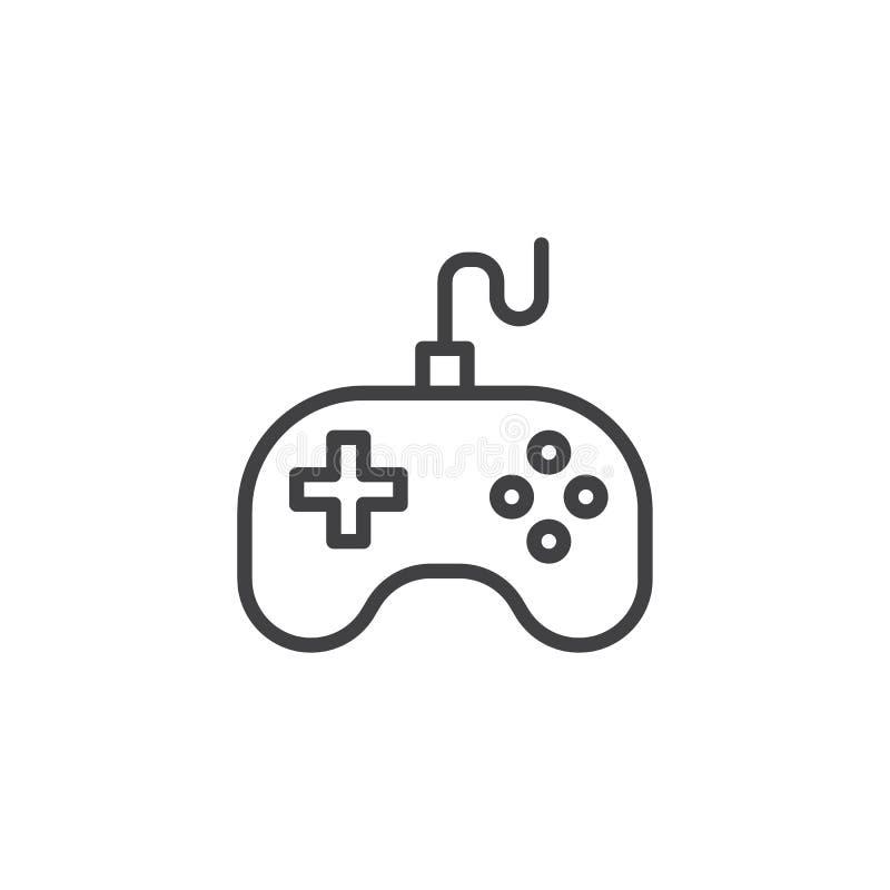Linha ícone do manche do controlador do jogo ilustração stock