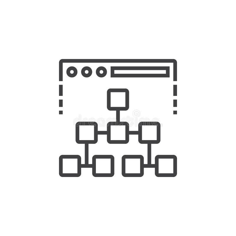 Linha ícone do mapa do site, sinal do vetor do esboço, isolat linear do pictograma ilustração stock