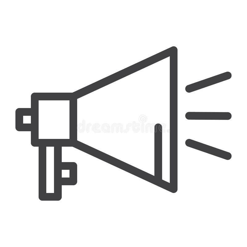 Linha ícone do megafone ilustração royalty free