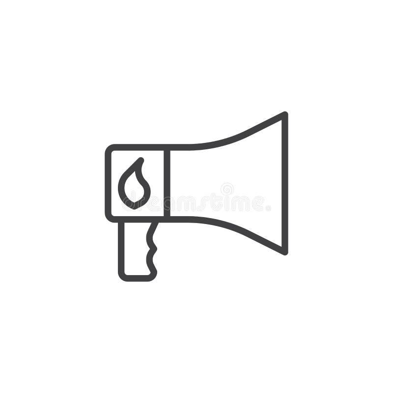 Linha ícone do megafone do alarme de incêndio ilustração stock