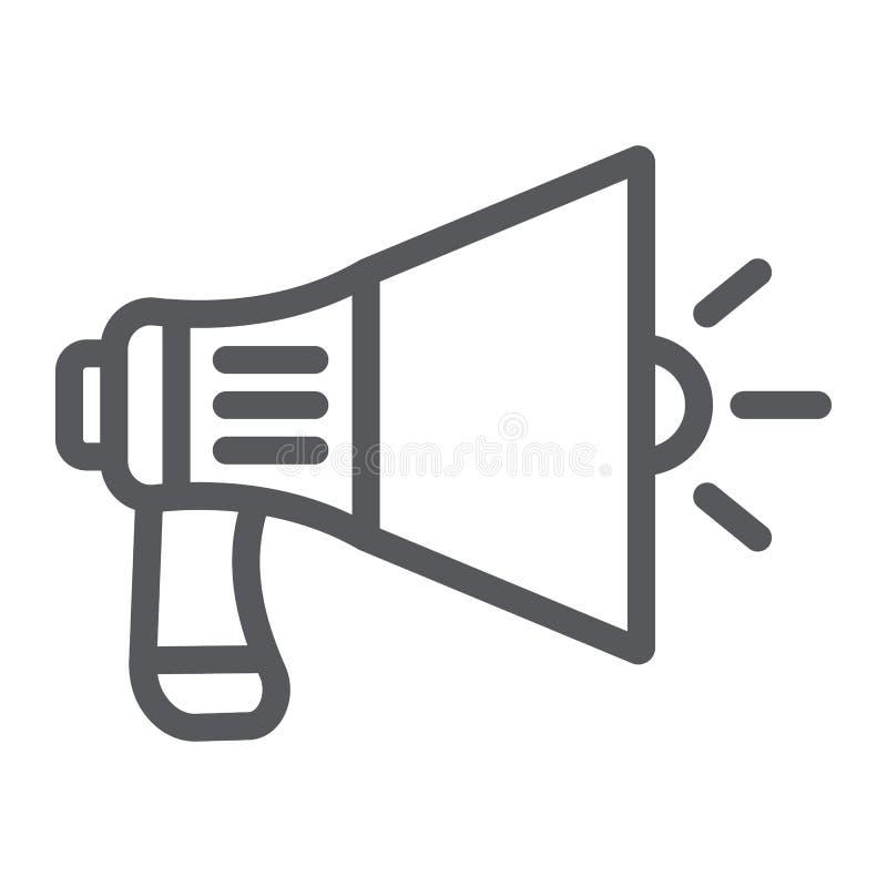 Linha ícone do megafone, anúncio e orador, sinal do altifalante, gráficos de vetor, um teste padrão linear em um fundo branco ilustração do vetor