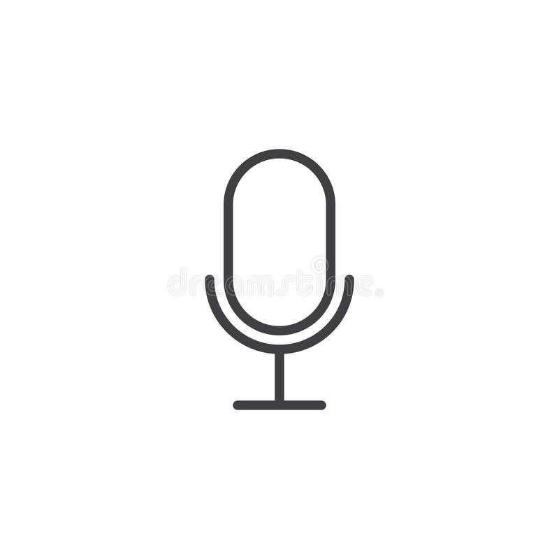 Linha ícone do microfone ilustração stock