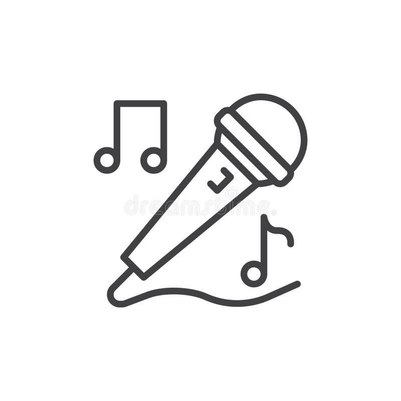 Linha ícone do microfone do karaoke, sinal do vetor do esboço, pictograma linear do estilo isolado no branco ilustração royalty free