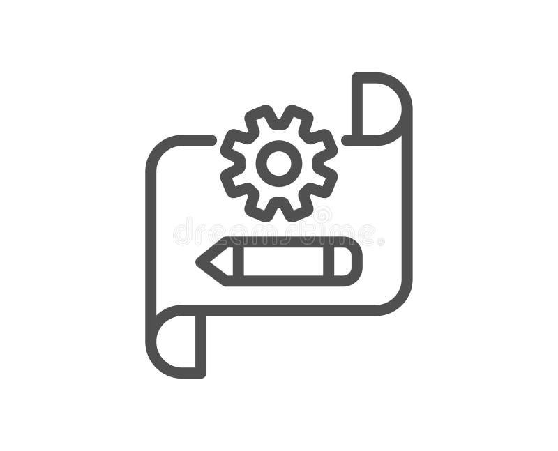 Linha ícone do modelo da roda denteada Projetando o sinal da ferramenta Edite ajustes Vetor ilustração do vetor