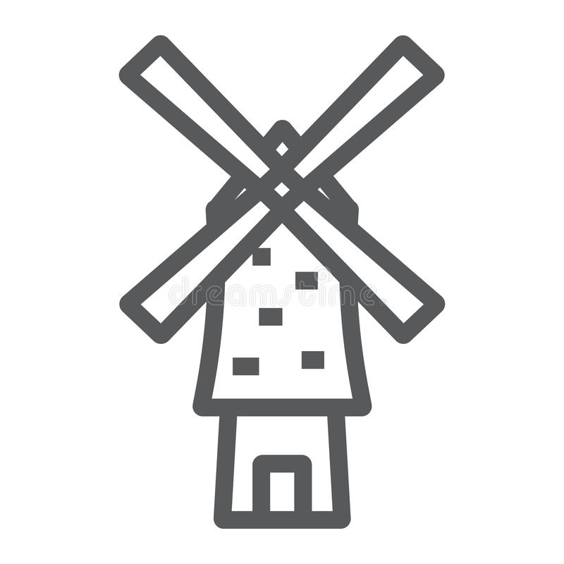Linha ícone do moinho de vento, energia e vento, sinal do moinho, gráficos de vetor, um teste padrão linear em um fundo branco ilustração royalty free
