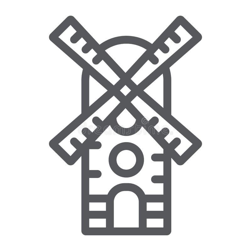 Linha ícone do moinho de vento, exploração agrícola e vento, sinal do moinho, gráficos de vetor, um teste padrão linear em um fun ilustração royalty free