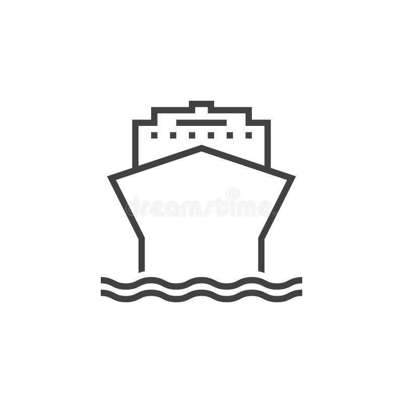 Linha ícone do navio de cruzeiros, ilustração do logotipo do esboço, linear ilustração stock