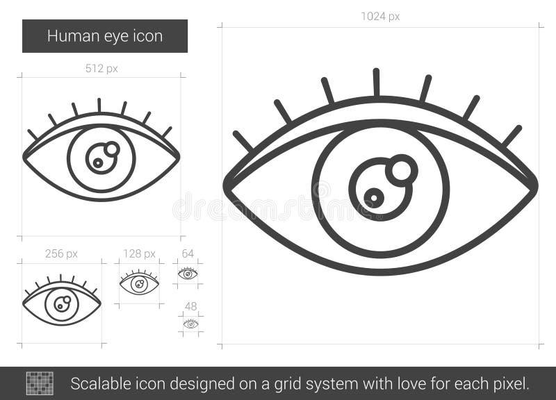 Linha ícone do olho humano ilustração royalty free