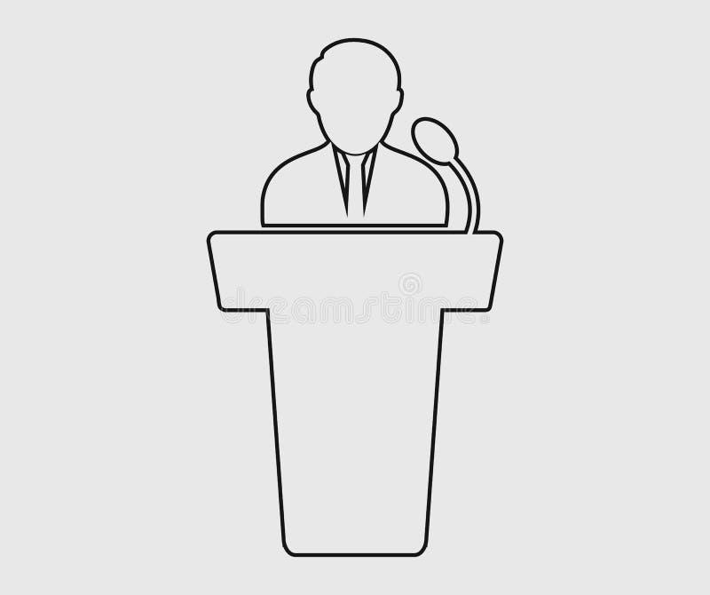 Linha ícone do orador ilustração stock