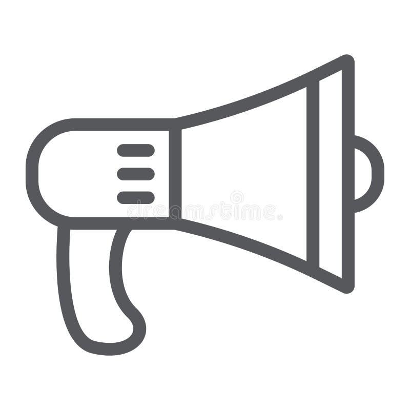 Linha ícone do orador, alto e anúncio, sinal do megafone, gráficos de vetor, um teste padrão linear em um fundo branco ilustração royalty free