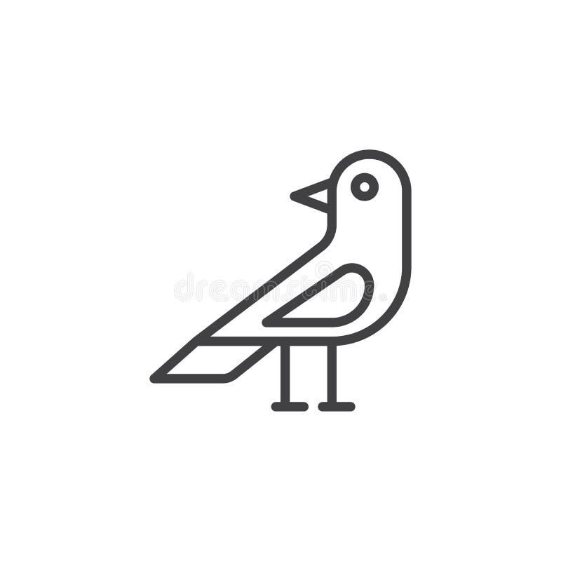 Linha ícone do pássaro do corvo ilustração do vetor