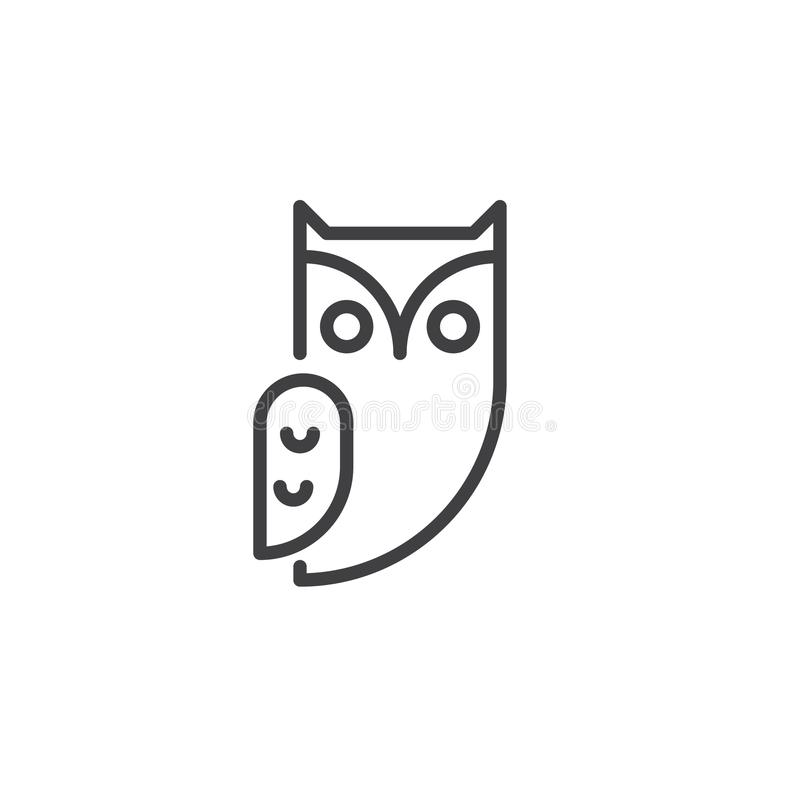 Linha ícone do pássaro da coruja ilustração stock