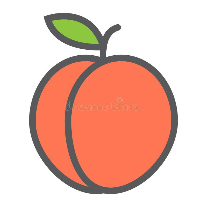 Linha ícone do pêssego, fruto e dieta, gráfico de vetor ilustração royalty free