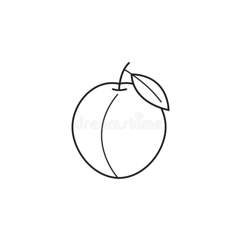 Linha ícone do pêssego, fruto saudável, gráficos de vetor ilustração royalty free