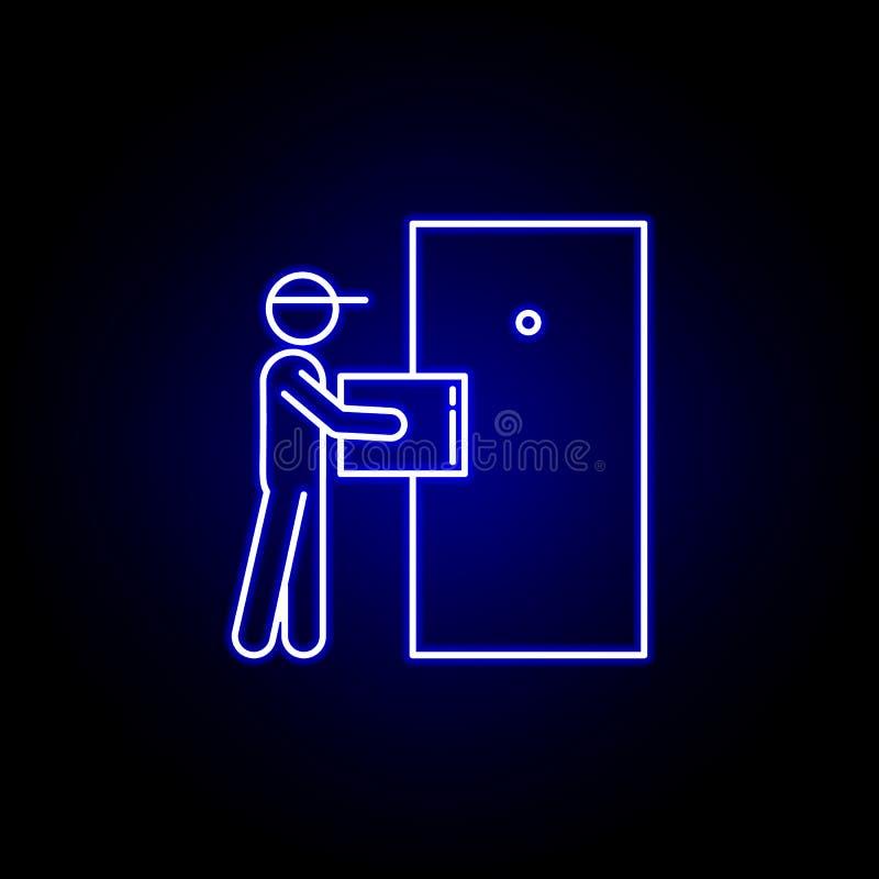 linha ícone do pacote do correio no estilo de néon azul Ajuste dos ícones da ilustração da logística Os sinais, símbolos podem se ilustração do vetor