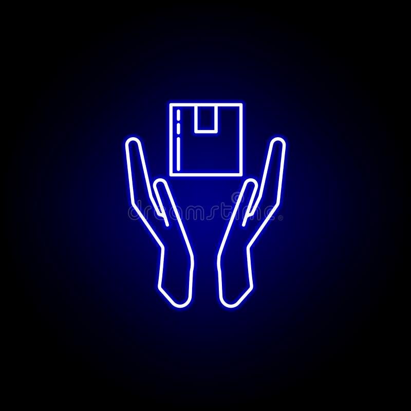 linha ícone do pacote da proteção no estilo de néon azul Ajuste dos ícones da ilustração da logística Os sinais, símbolos podem s ilustração royalty free