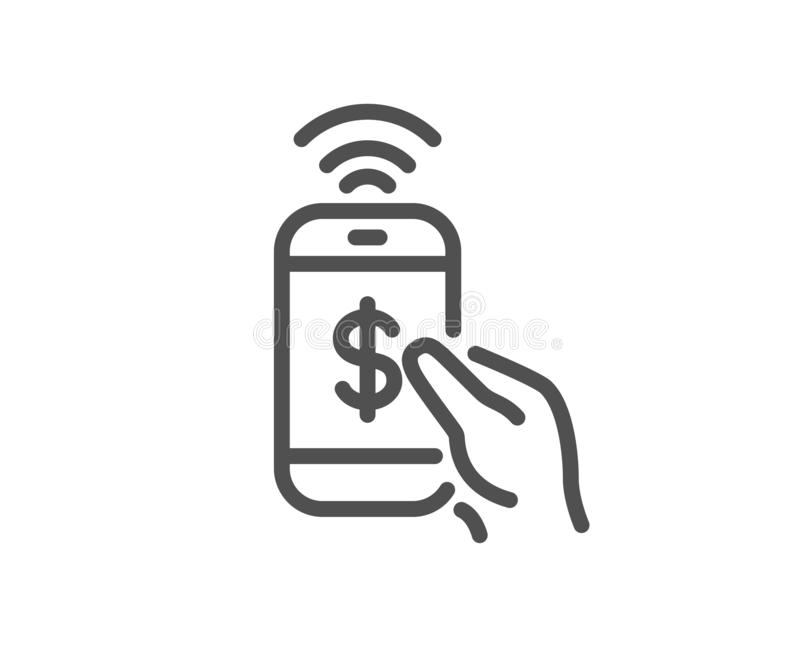 Linha ícone do pagamento do telefone Sinal do pagamento do dólar ilustração stock