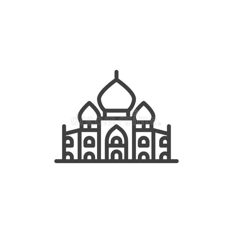 Linha ícone do palácio de Taj Mahal ilustração stock