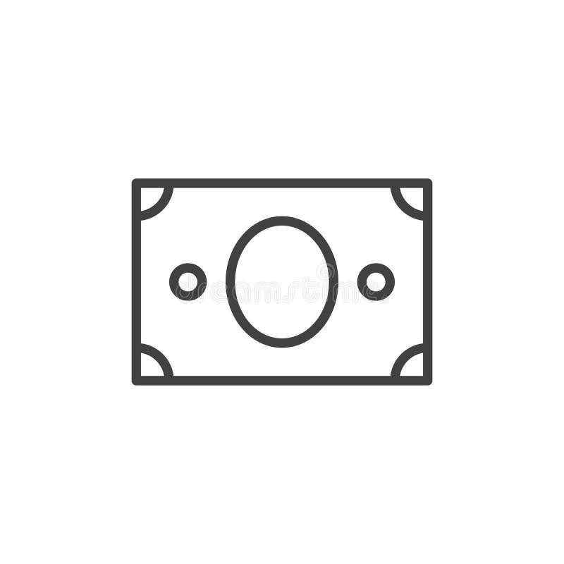 Linha ícone do papel moeda ilustração do vetor