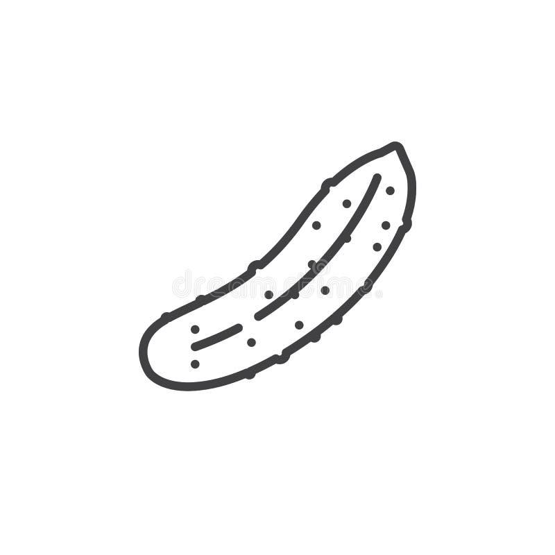Linha ícone do pepino, sinal do vetor do esboço, pictograma linear isolado no branco ilustração royalty free