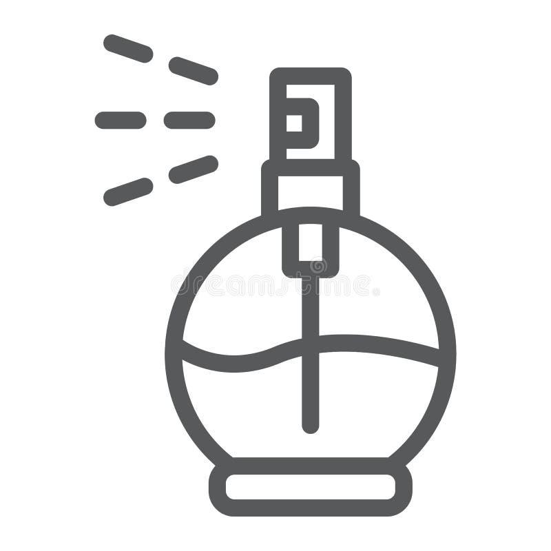 Linha ícone do perfume, aroma e fragrância, sinal da água de Colônia, gráficos de vetor, um teste padrão linear em um fundo branc ilustração do vetor