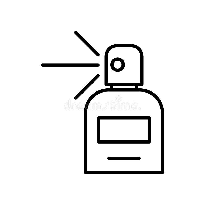 Linha ícone do perfume Garrafa com a ilustração do vetor do perfume isolada no branco Projeto do estilo do esboço do aroma, proje ilustração do vetor