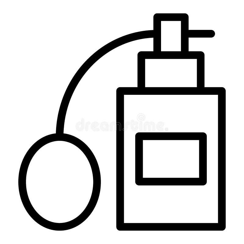 Linha ícone do perfume Ilustração da garrafa da fragrância isolada no branco Projeto do estilo do esboço do perfume, projetado pa ilustração do vetor